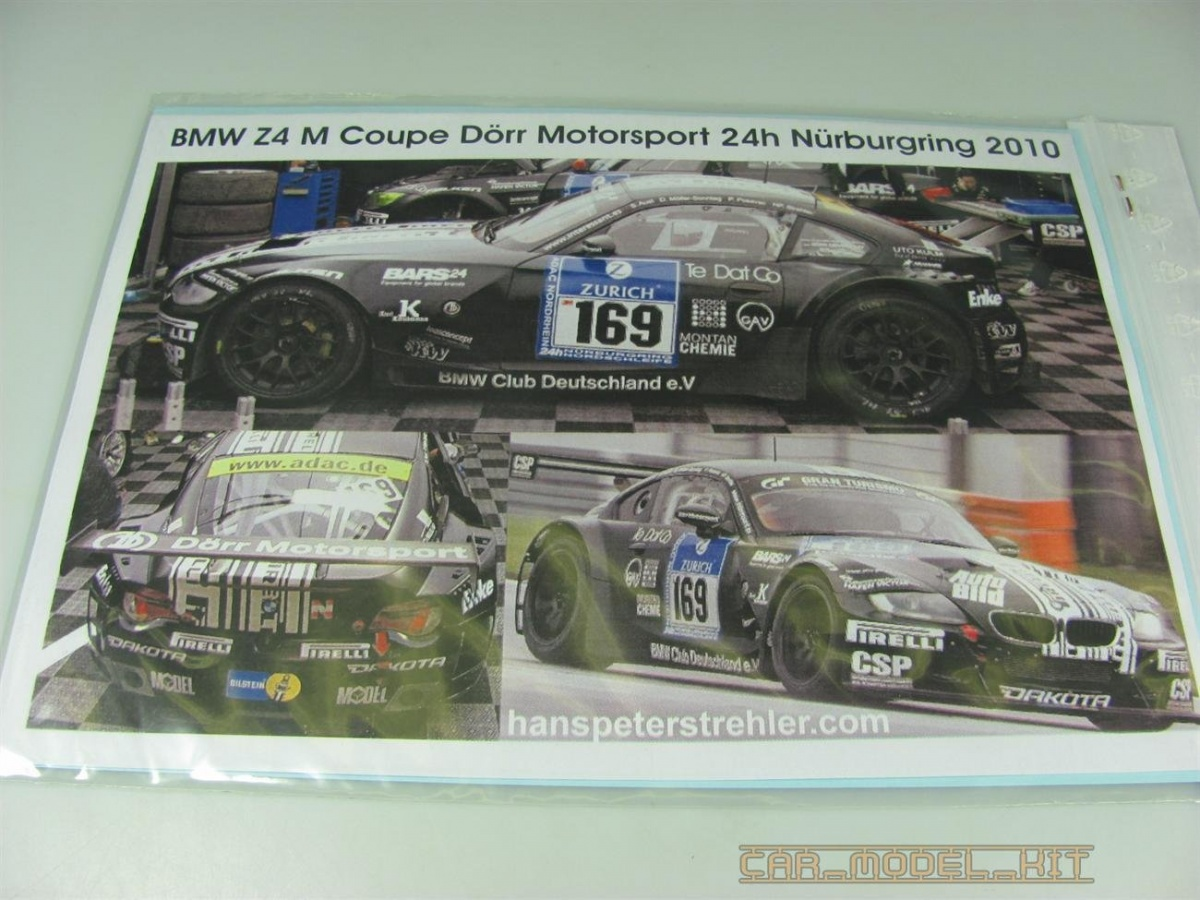 BMW Z4 GT3 24h Nürburgring 2010 Decals - SCALE PRODUCTION   Car ...