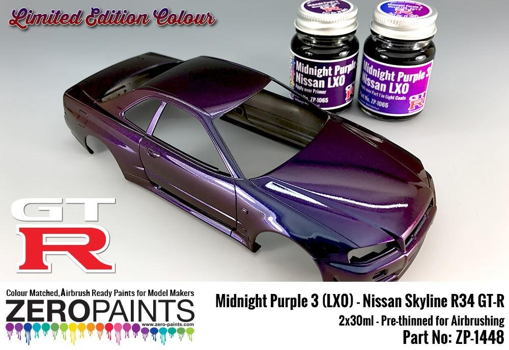 Midnight Purple 3 Lx0 Nissan Gt R R34 2x30ml Limited Edition Colour Zero Paints