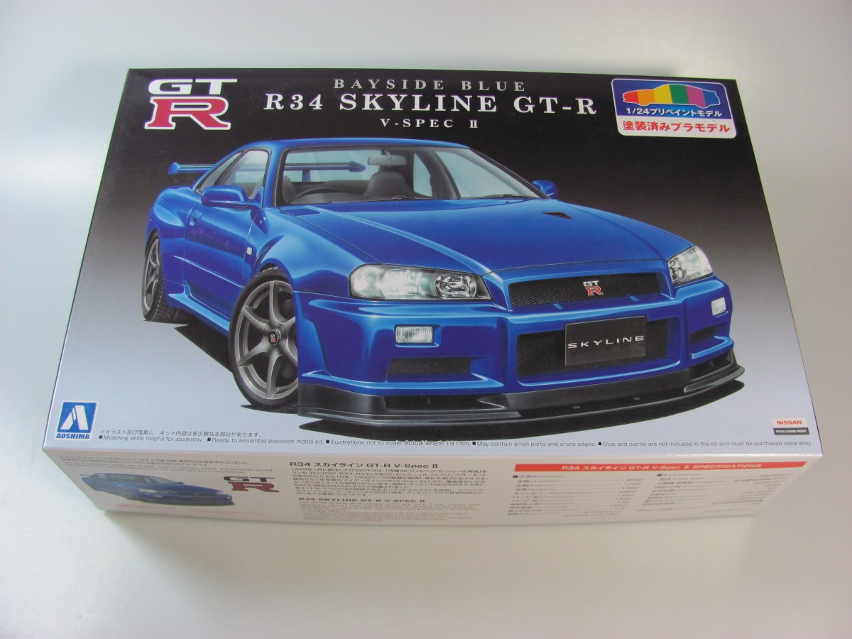 nissan skyline r34 gt r blue aoshima car model. Black Bedroom Furniture Sets. Home Design Ideas