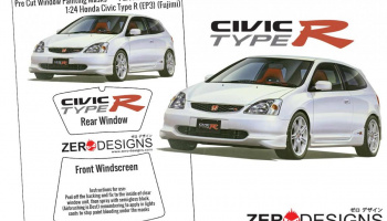 Honda Civic Type R (EP3) Early Type Pre Cut Window Painting Masks (Fujimi) - Zero Paints