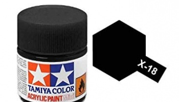 X-18 Semi Gloss Black Acrylic Paint Mini X18 - Tamiya
