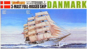 Danmark 3-Mast Full-Rigged Ship 1/350 - Aoshima