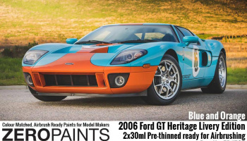 2006 Ford GT Heritage Livery Edition Blue and Orange Paint Set 2x30ml - Zero Paints