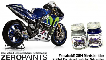 Yamaha M1 2014 Movistar Blue Paint Set 2x30ml - Zero Paints
