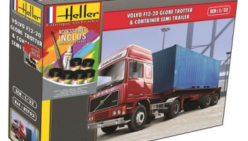 Volvo F12-20 GlobeTrotter &Container Semi Trailer 1/32 - Heller
