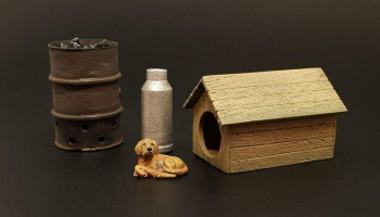 1/35 Dog house with dog resin dio accessories
