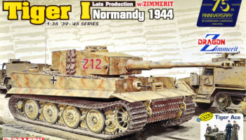 Pz.Kpfw.VI Ausf.E Tiger I Late Production w/Zimmerit (Normandy 1944) + Tiger Ace 1/35 - Dragon