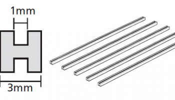 CLEAR PLASTIC BEAMS 3mm H-SHAPED (5PCS.) - Tamiya