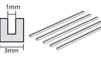CLEAR PLASTIC BEAMS 3mm U-SHAPED (5PCS.) - Tamiya