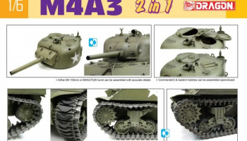 M4A3 105mm Howitzer Tank / M4A3(75)W (2 in 1) (1:6) Model Kit tank 75055 - Dragon