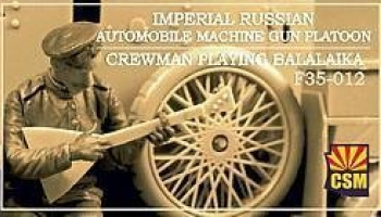 1/35 Imperial Russian Automobile Machine Gun Platoon Crewman playing balalaika