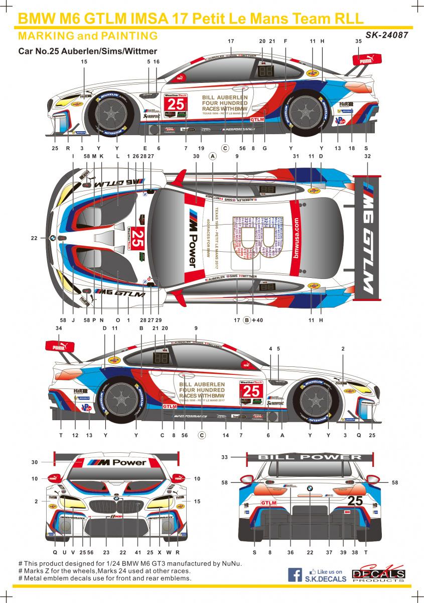 BMW M6 GTLM IMSA 17 Petit LM Team RLL - SKDecals   Car-model