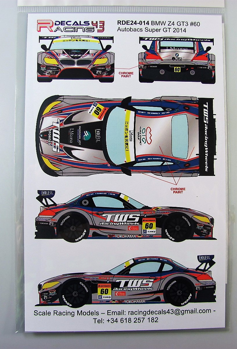 Bmw z4 gt3 60 sgt 2014 racing decals 43