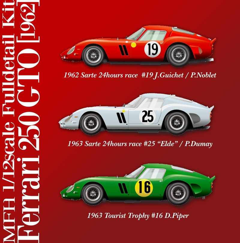 Ferrari 250 Gto 1962 Model Factory Hiro Car Model Kit Com