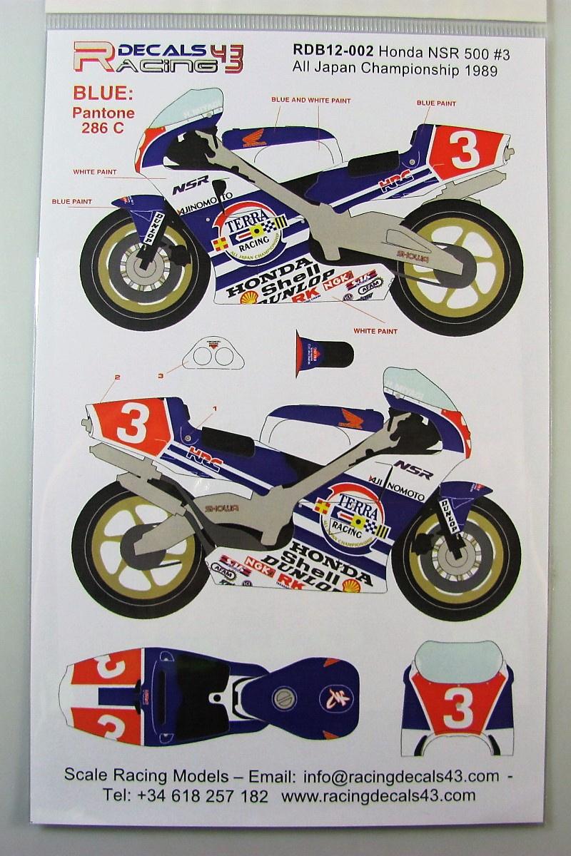1//12 Honda NSR500 Marlb0ro #6 /'89 Japan WGP Decal for Tamiya
