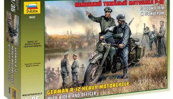 Model Kit military 3632 - German R-12 Heavy Motorcycle with Rider (1:35) – Zvezda