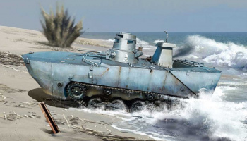 Model Kit military 6916 - IJN Type 2 (Ka-Mi) Amphibious Tank w/Floating Pontoon (Early Production) (1:35)