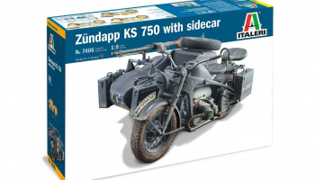 Zundapp KS 750 with sidecar (1:9) Model Kit 7406 - Italeri