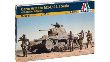 Model Kit tank 6543 - CARRO ARMATO M14/41 I SERIE with Italian Infantry (1:35)