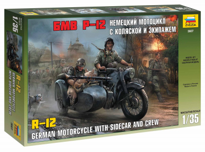 Model Kit military 3607 - German WWII Sidecar R12 with crew (1:35)