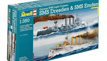 Combi Set German WWII Cruisers SMS Dresden & SMS Emden (1:350) Plastic Model Kit 05500 - Revell