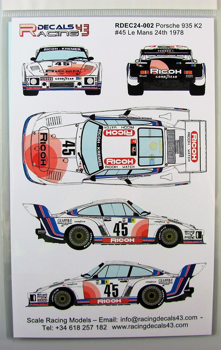 Porsche 935 k2 45 ricoh lm 1978 racing decals 43