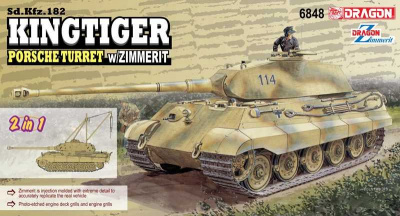 Sd.Kfz.182 Kingtiger Porsche Turret w/Zimmerit (2 in 1) (1:35) Model Kit 6848 - Dragon