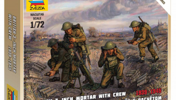 Wargames (WWII) figurky 6168 - British Mortar with crew 1939-42 (1:72)