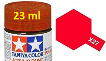 X-27 Clear Red Acrylic Paint 23ml X27 - Tamiya