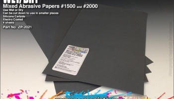 Wet and Dry Abrasive Paper #1500 and #2000 - 4 off - Zero Paints